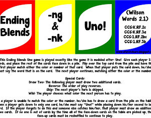 Ending Blends -nk and -ng Uno Game