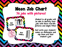 "bright, neon job chart... so fun and the pictures will help all students be able to ""read"" the job chart!"