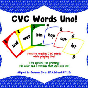 CVC Words Uno Games!