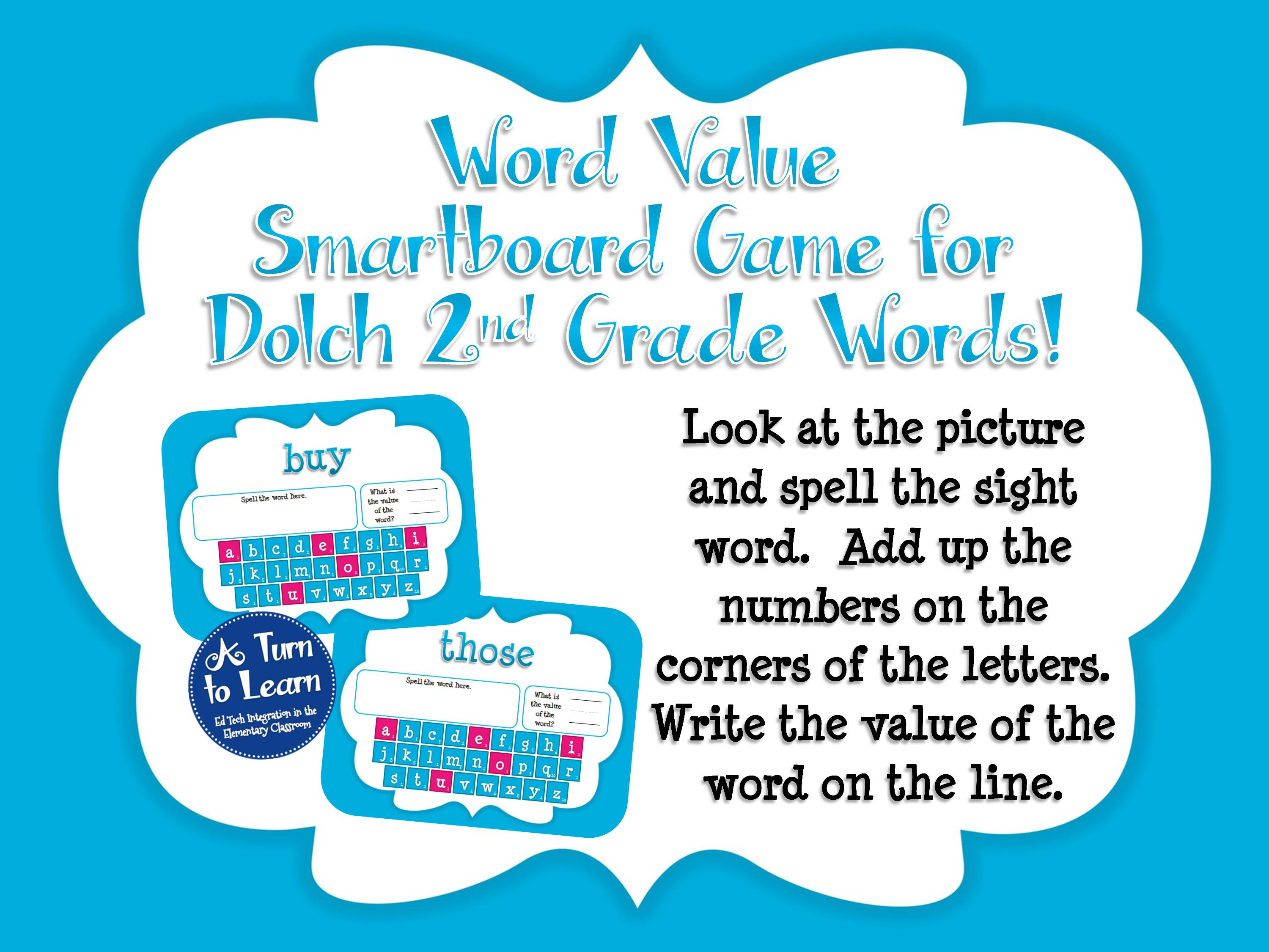 Sight Word Smartboard Games: Dolch Word Value, 2nd Grade