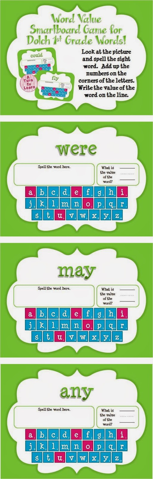 Word Value Game for Dolch 1st Grade Words - Smartboard or Promethean Board!