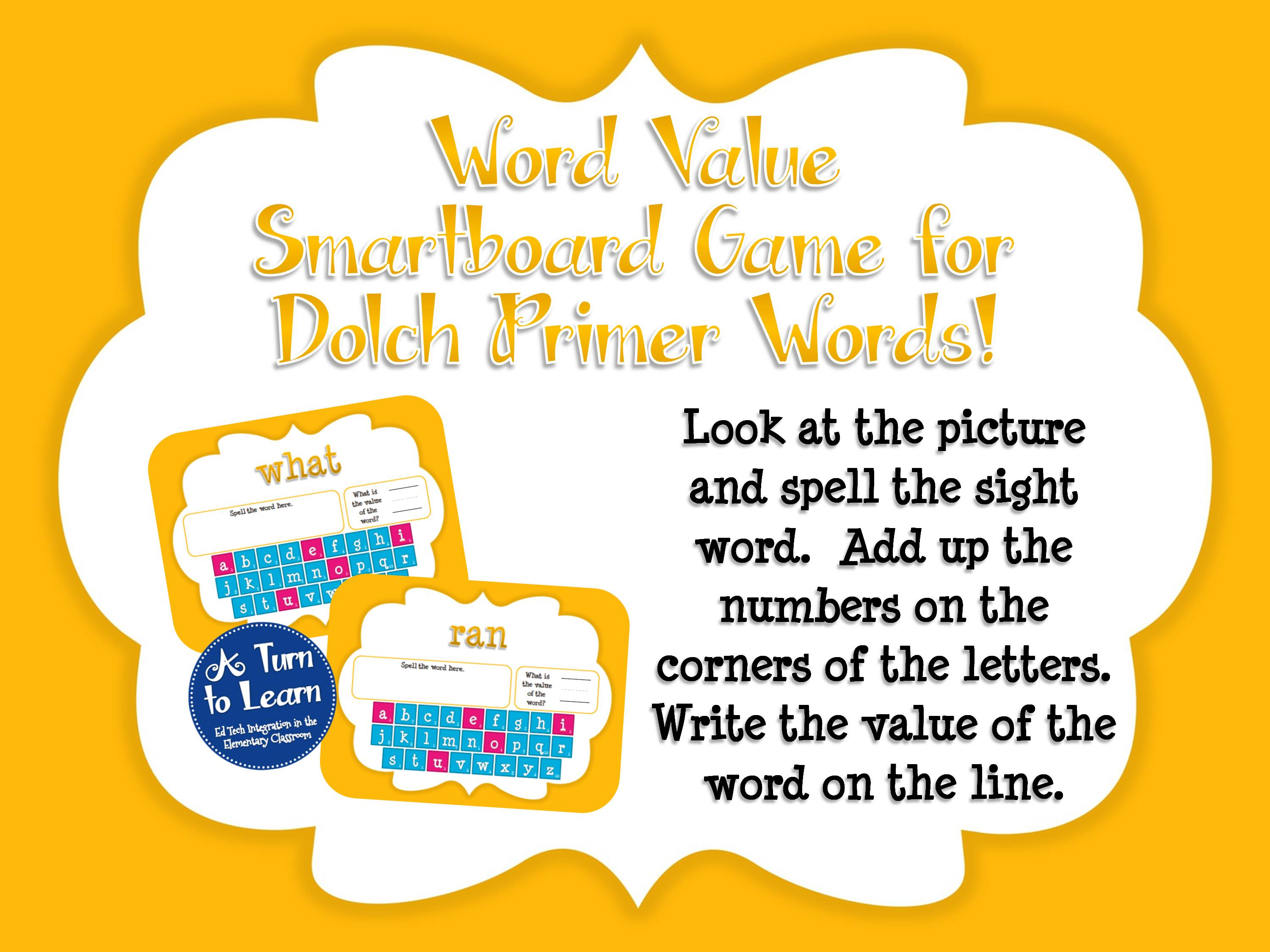 Sight Word Smartboard Games: Dolch Word Value, Primer