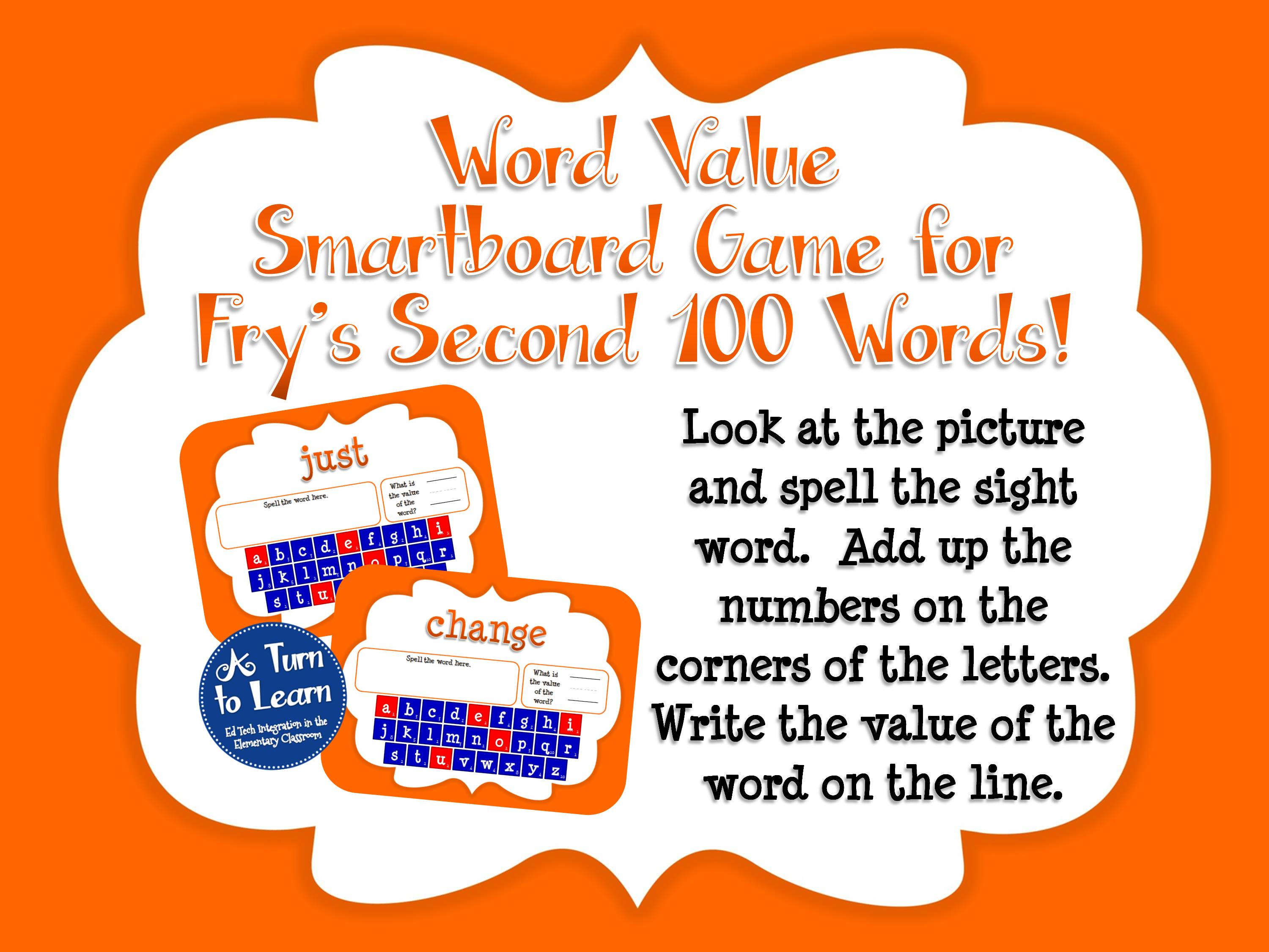 Sight Words Smartboard Game: Fry's Second 100 Words
