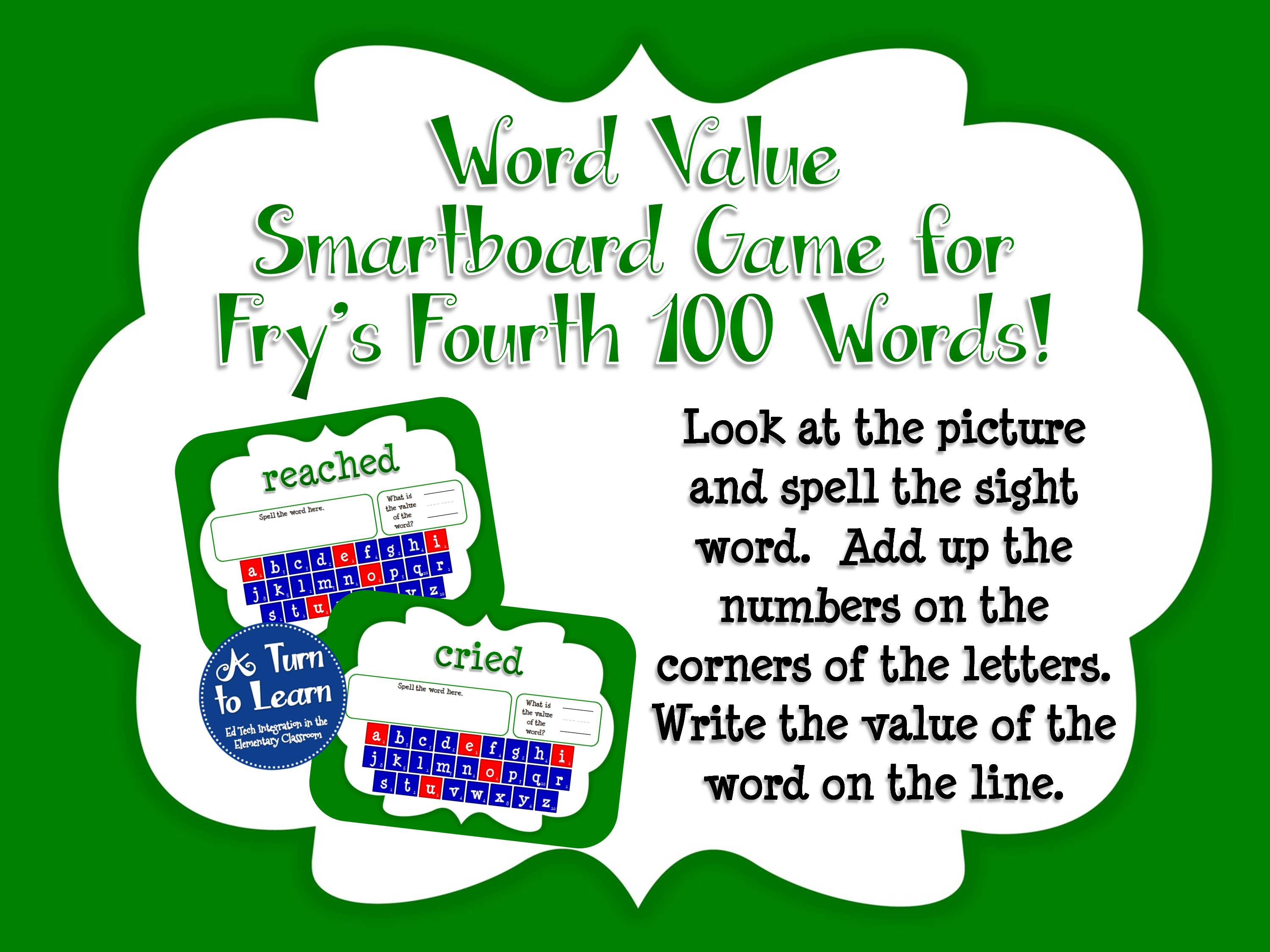 Sight Words Smartboard Game: Fry's Fourth 100 Words