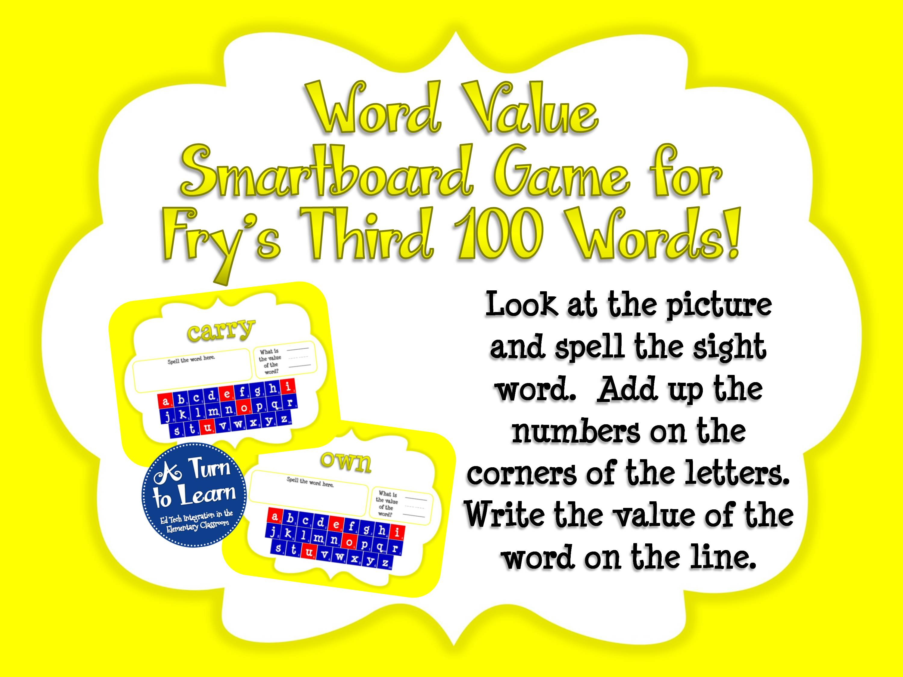 Sight Words Smartboard Game: Fry's Third 100 Words