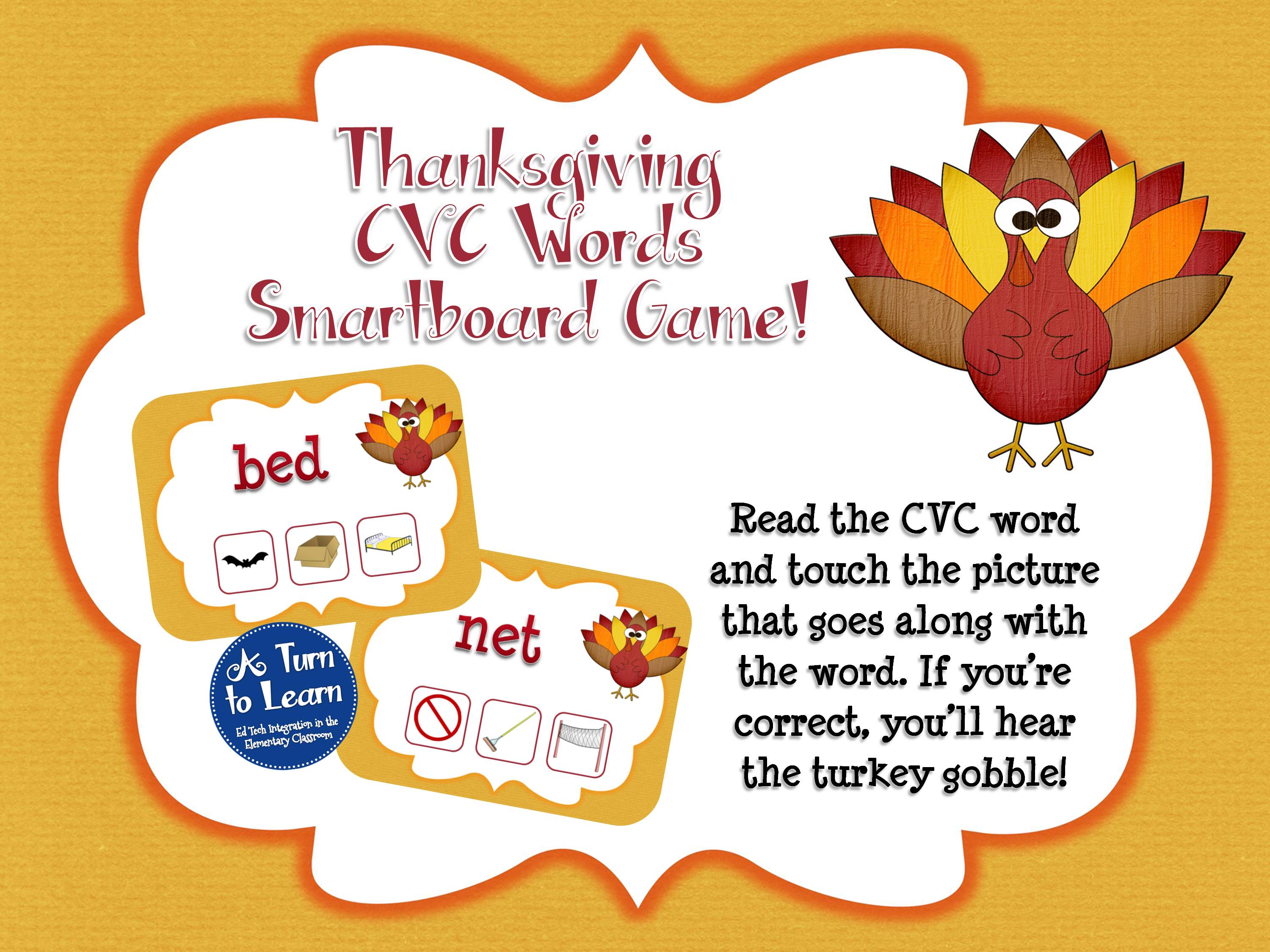 Thanksgiving themed smartboard game for reading CVC words