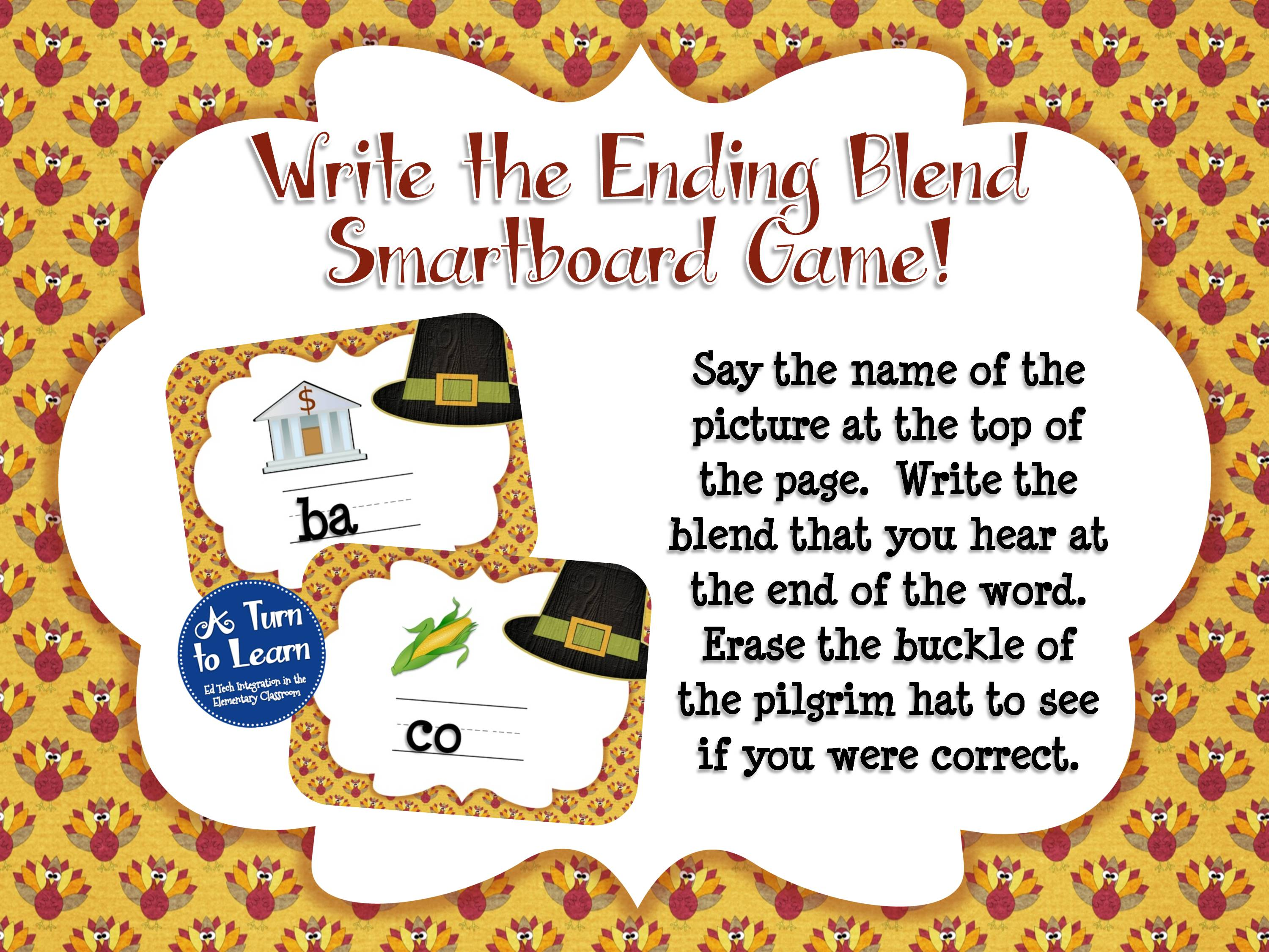 Thanksgiving themed smartboard game for ending blends
