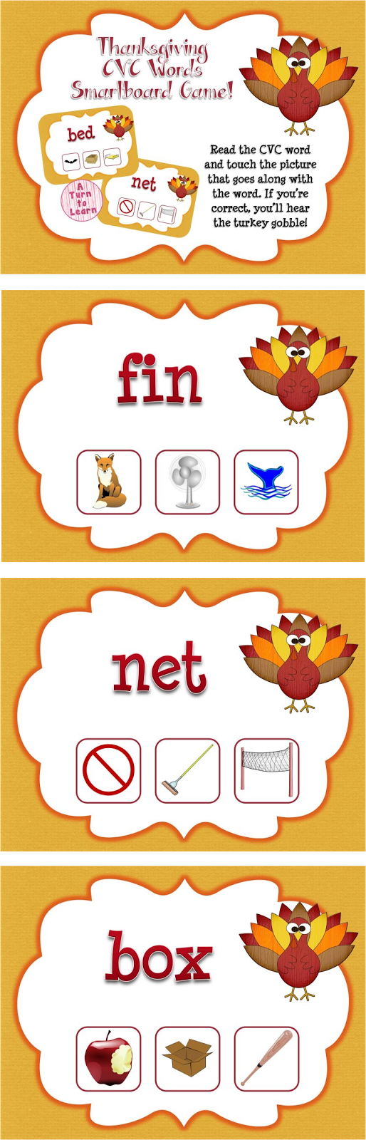 This Thanksgiving themed smartboard/promethean board game is the perfect way to celebrate the holiday! Just have students read the CVC word at the top of the page and touch the correct picture. If they're right, they'll hear a turkey gobble!