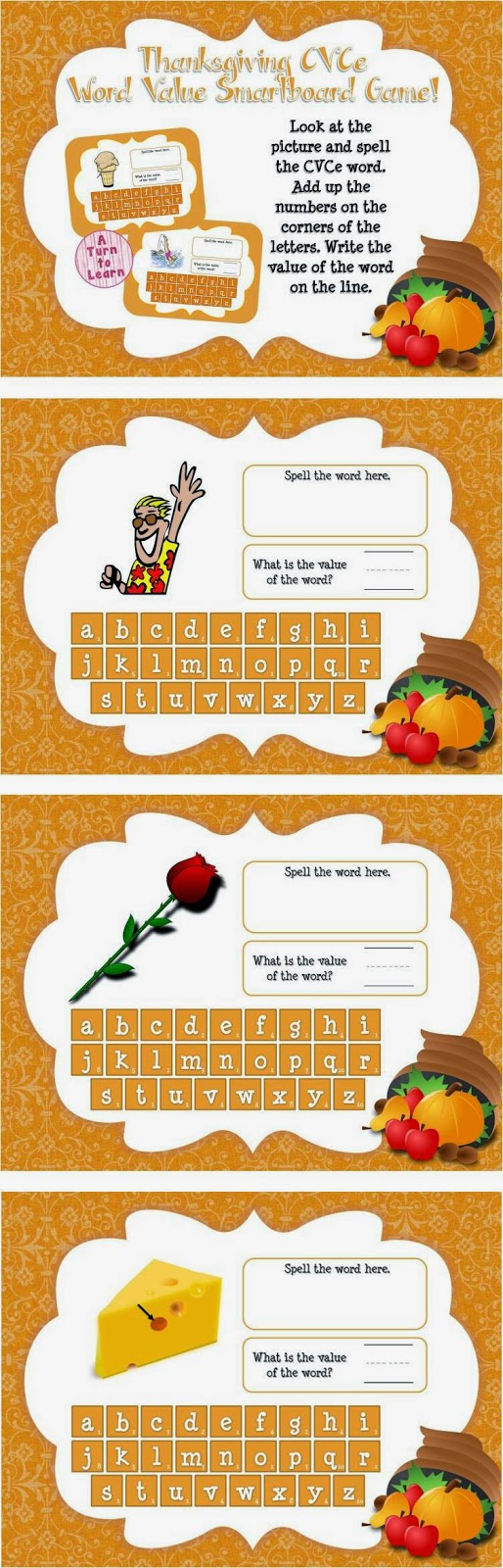 "This Thanksgiving themed smartboard/promethean board game is the perfect way to celebrate the holiday! Have students spell the CVCe word at the top of the page, then figure out the ""value"" of the word by adding up the numbers on the tiles... this game is the perfect way to incorporate math into your ELA lessons!"