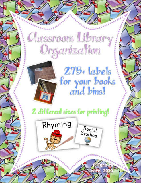 organize your classroom library in a way that even pre-readers can put back books... get labels for your bins and your books, and get tons of labels in two different sizes.