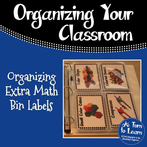 Organizing Extra Math Manipulative Labels... perfect teacher organization trick!