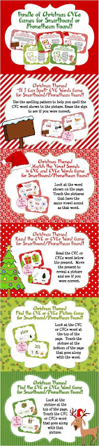 "These Christmas themed games are perfect for getting students in the holiday spirit while practicing their ability to read CVC and CVCe words! This set of five games will have students alternating between reading words with long and short vowels in order to fine tune their ability to read CVC words and words with a ""super e"" or ""magic e!"" Save 30% by buying these engaging, no-prep games as part of a bundle!"