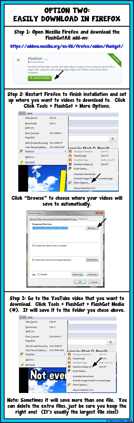 How to download videos off youtube a turn to learn option two the easier way to download youtube videos this tutorial only applies to mozilla firefox users this tutorial uses the add on flash got all ccuart Gallery