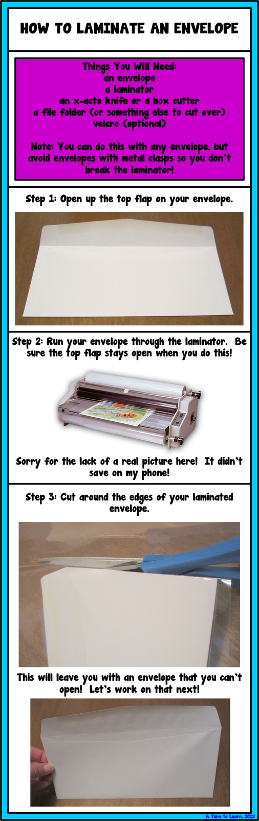 How To Laminate An Envelope A Turn