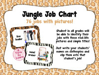 jungle themed classroom jobs with pictures... perfect for pre-readers and ELLs!