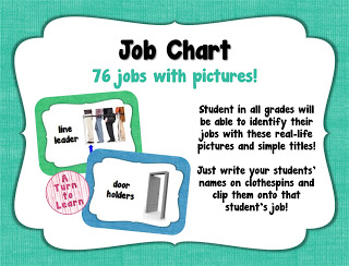 this cute job chart has pictures to help your students easily identify their job, even if they're not reading yet!