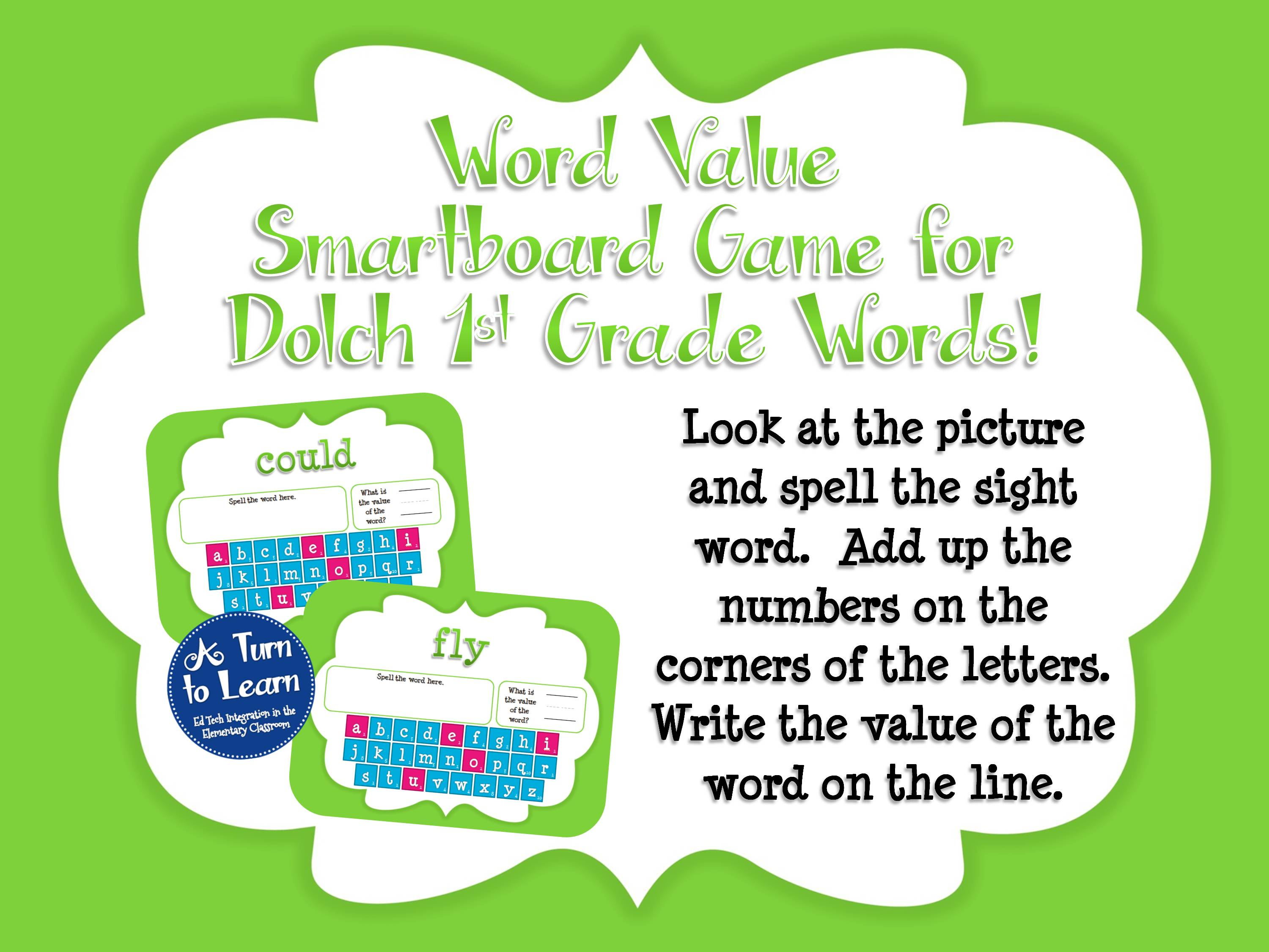 Sight Word Smartboard Games: Dolch Word Value, 1st Grade