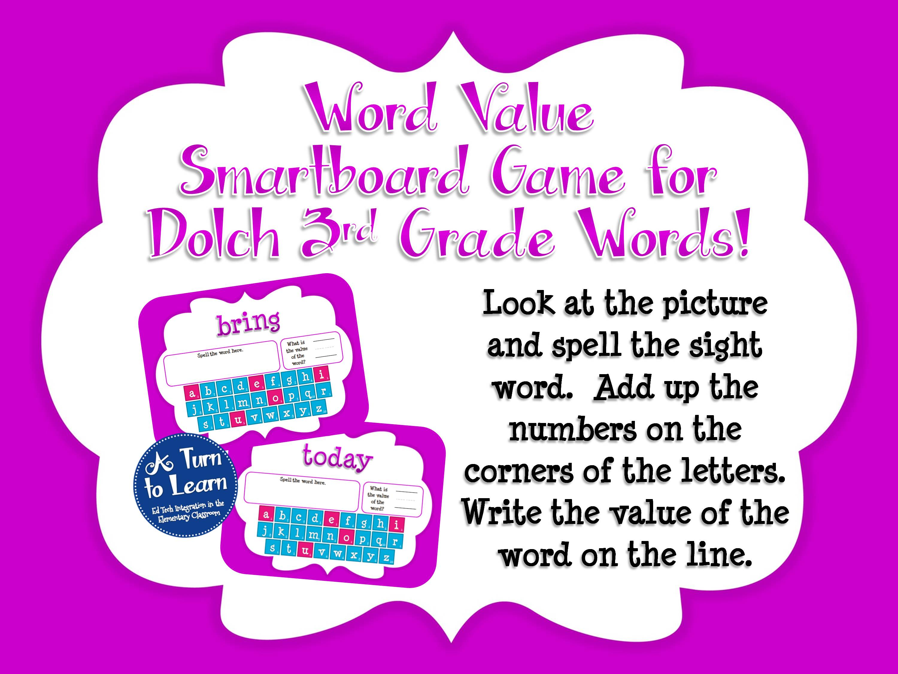 Sight Word Smartboard Games: Dolch Word Value, 3rd Grade