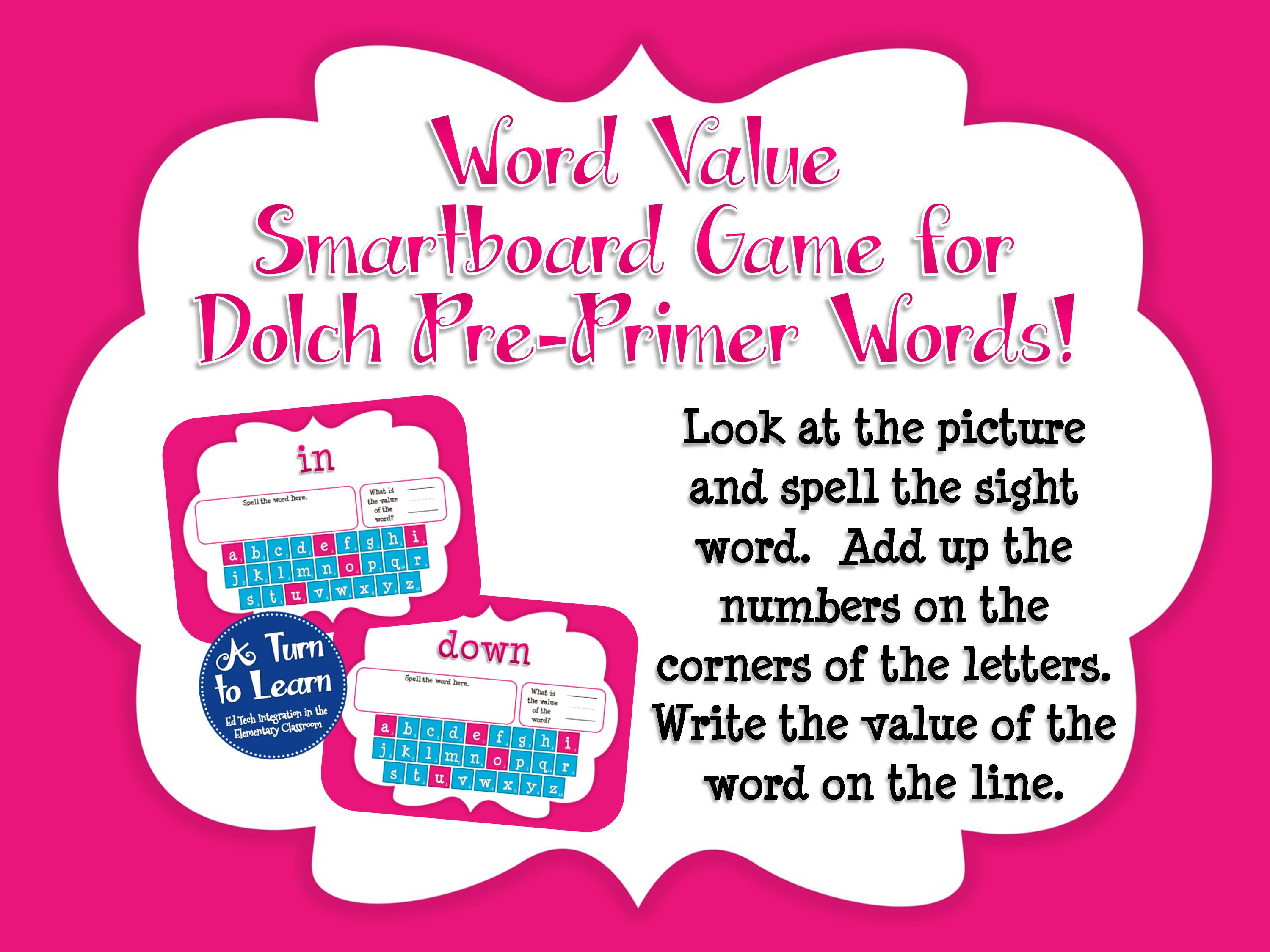 Sight Word Smartboard Games: Dolch Word Value, Pre-Primer, Preview 1