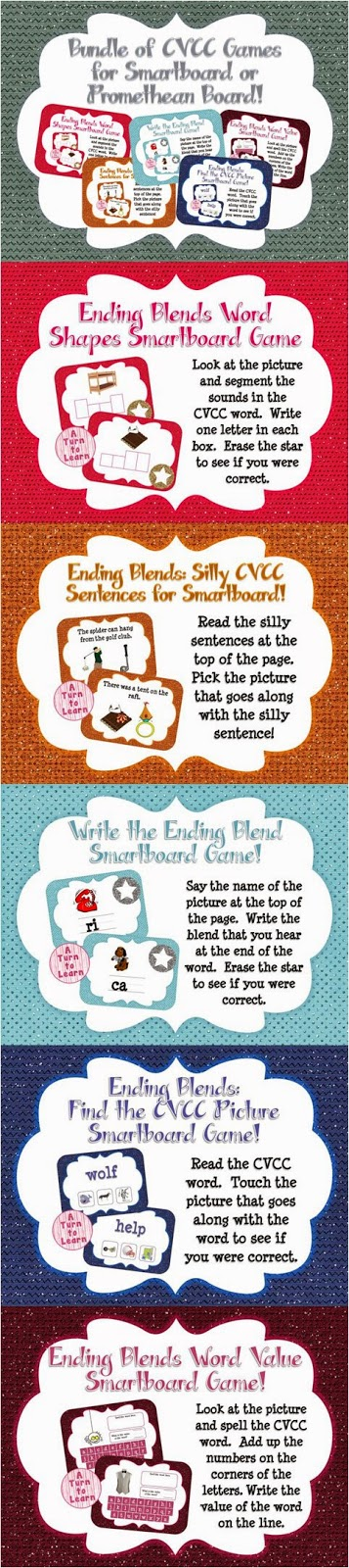 Ending Blends/CCVC Words BUNDLE of 5 Smartboard or Promethean Board Games! Save 30% by buying the bundle!