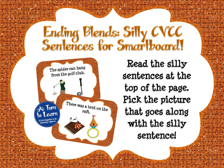 Ending Blends Smartboard Game - Silly CVCC Sentences