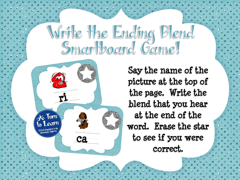 Ending Blends Smartboard Game - Write the Blend