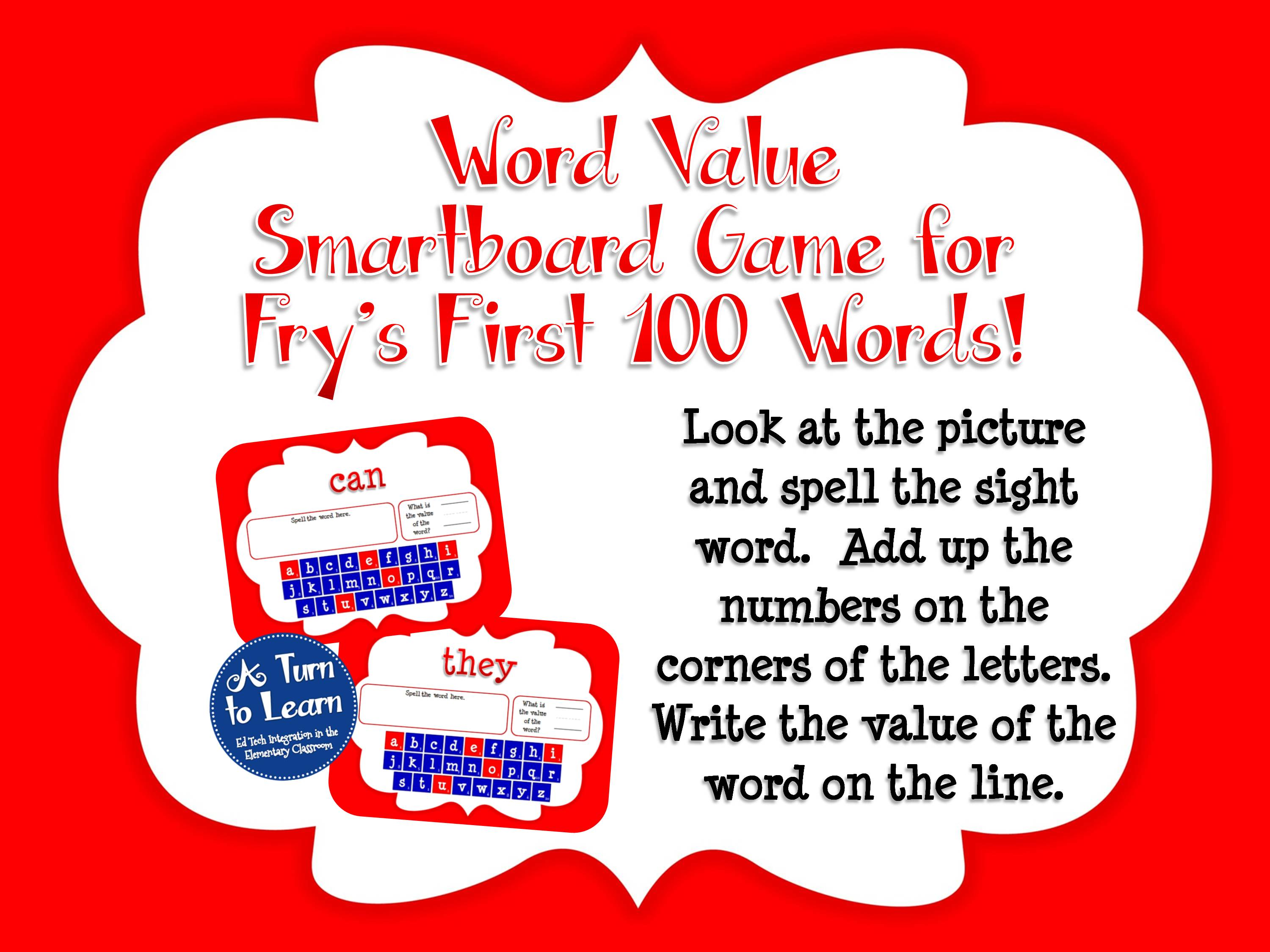 Sight Words Smartboard Game: Fry's First 100 Words