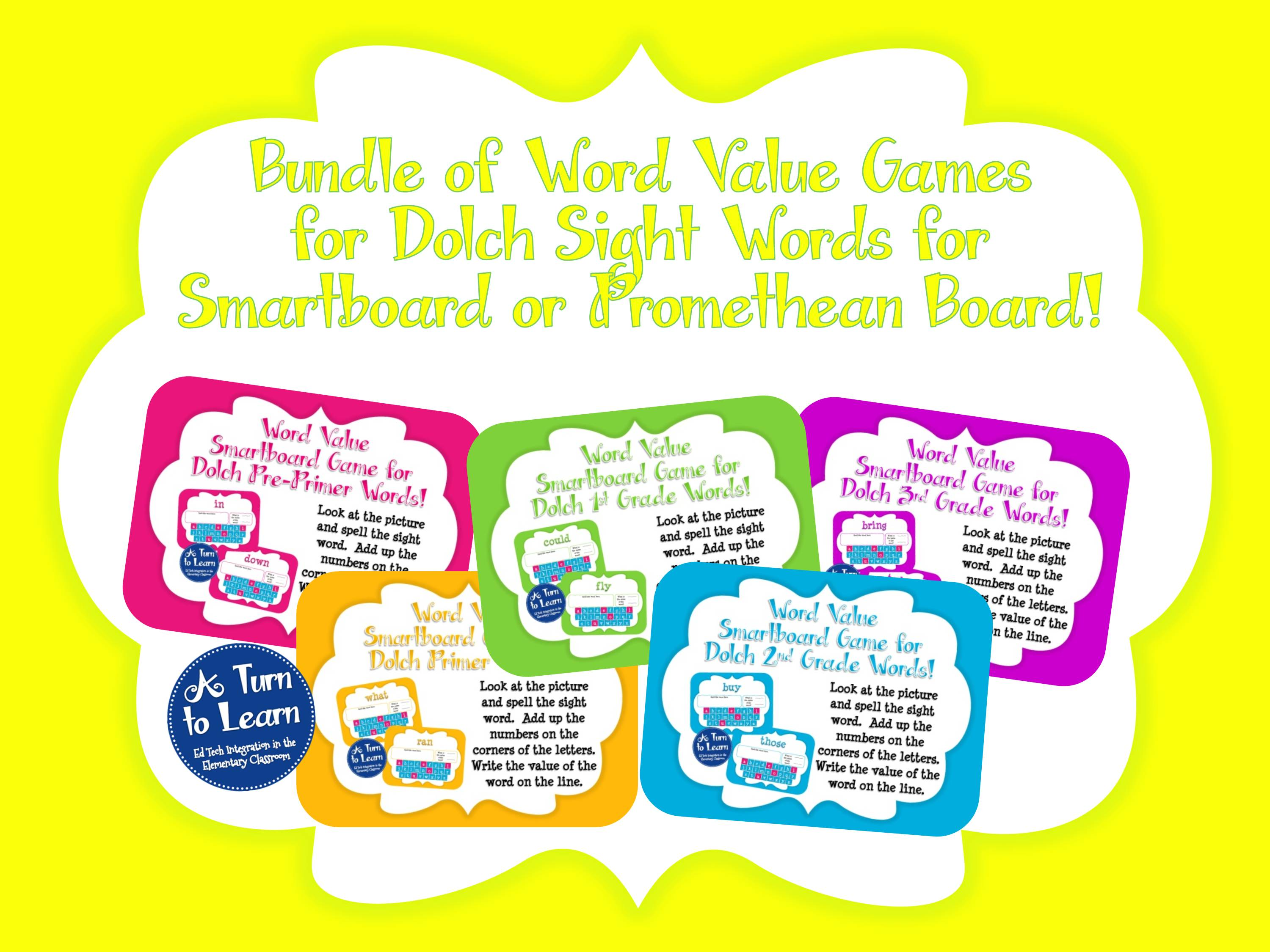 Dolch Words Smartboard Games Bundle