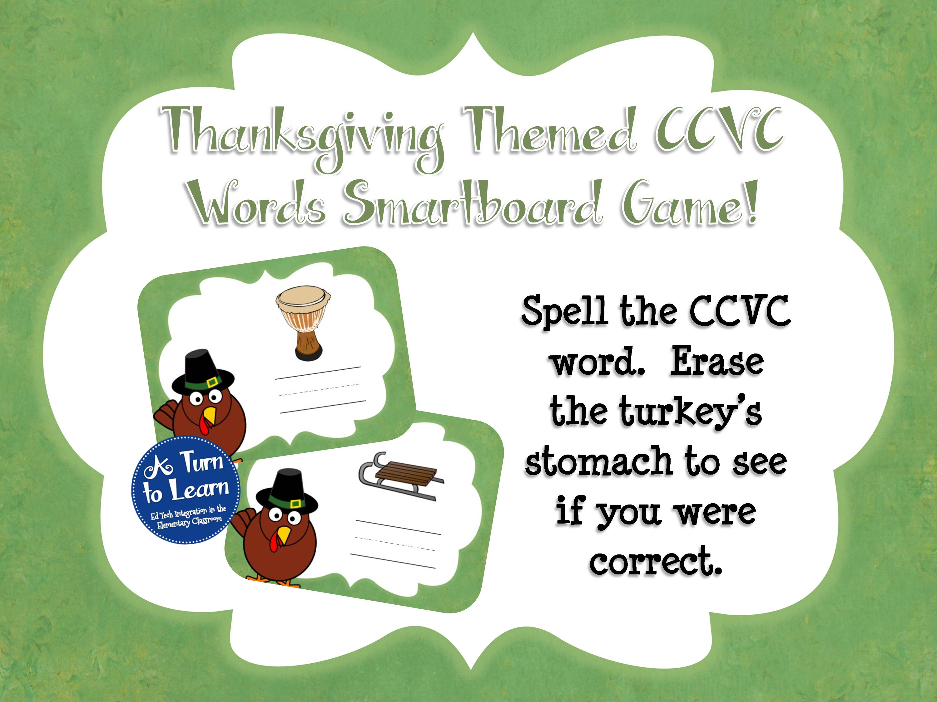 Thanksgiving Themed CCVC Words Smartboard Game for beginning blends
