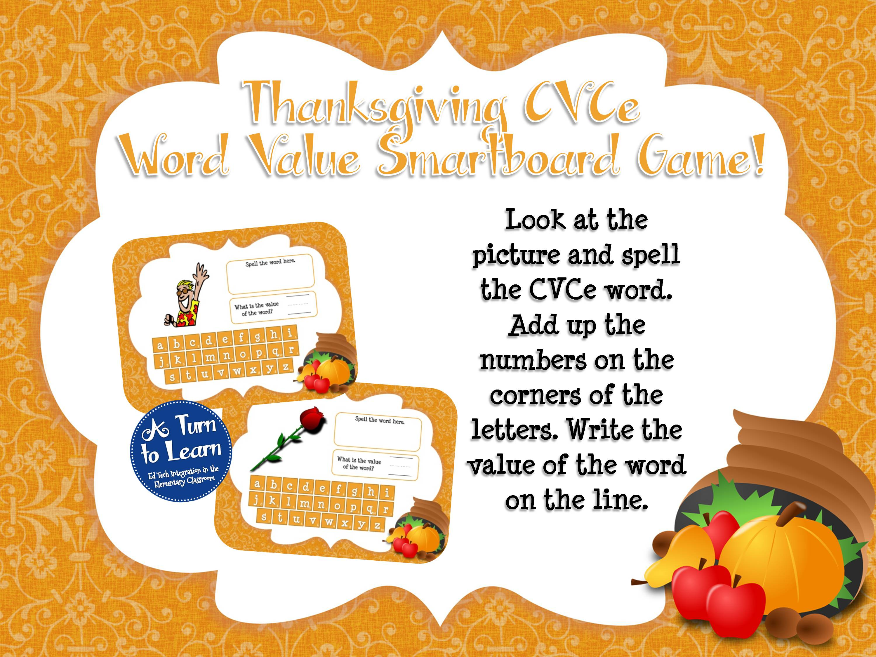 Thanksgiving themed CVCe word smartboard game for practicing spelling and math skills together!