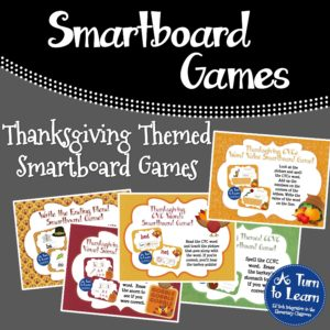Thanksgiving Themed Games for Smartboard/Promethean Board... Practice CVC and CVCe words as well as beginning and ending blends,