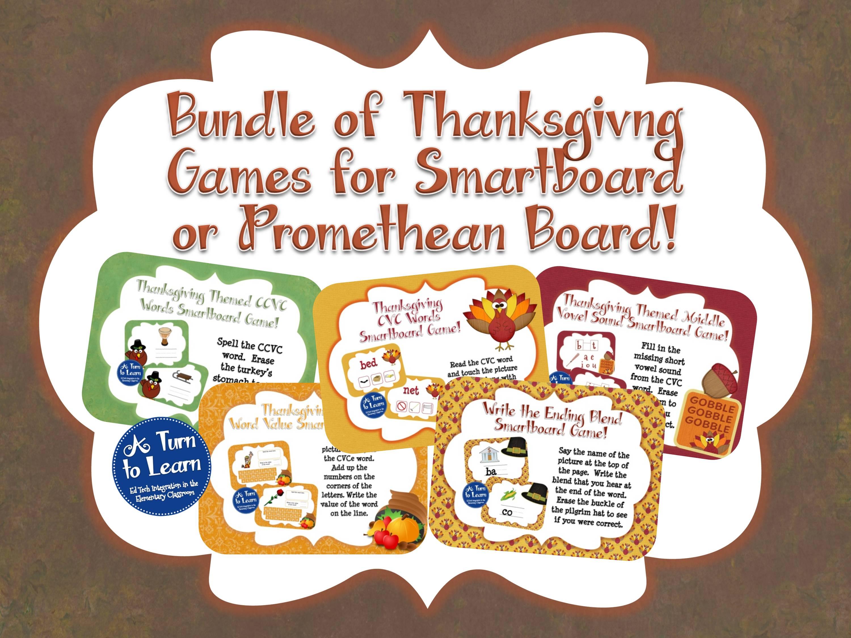 Thanksgiving Themed Smartboard Games Bundle for Kinder, 1st, or 2nd