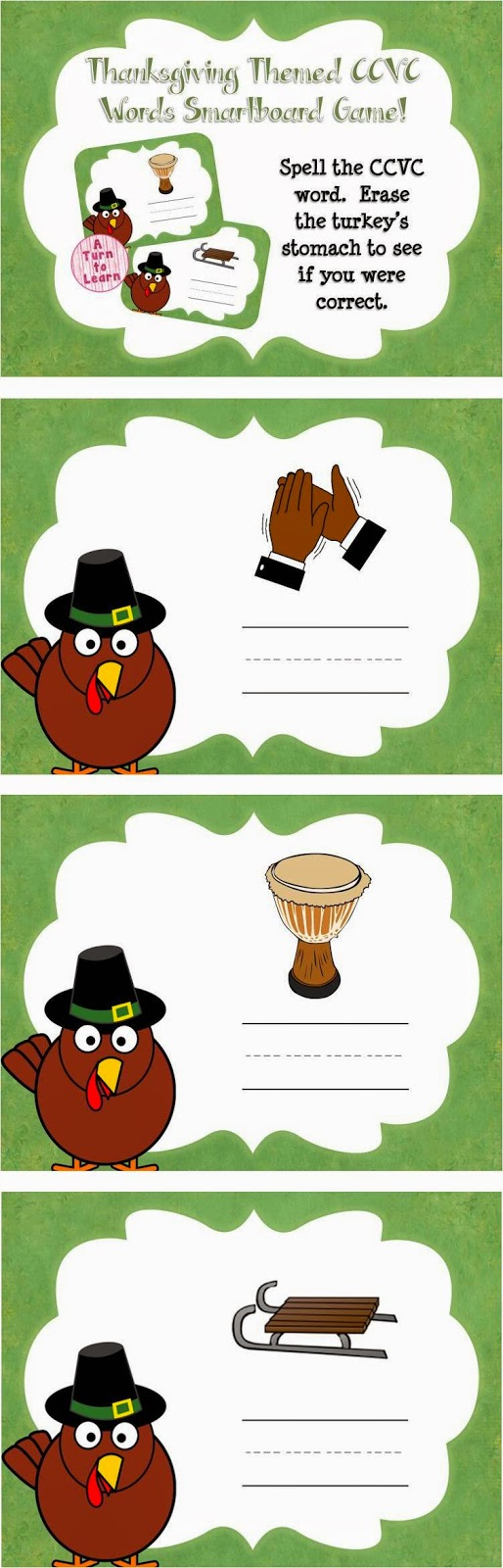 This thanksgiving themed smartboard/promethean board game is the perfect way to have your students practice CCVC words - just have your students read the word at the top of the page and find the picture that goes along with the word.