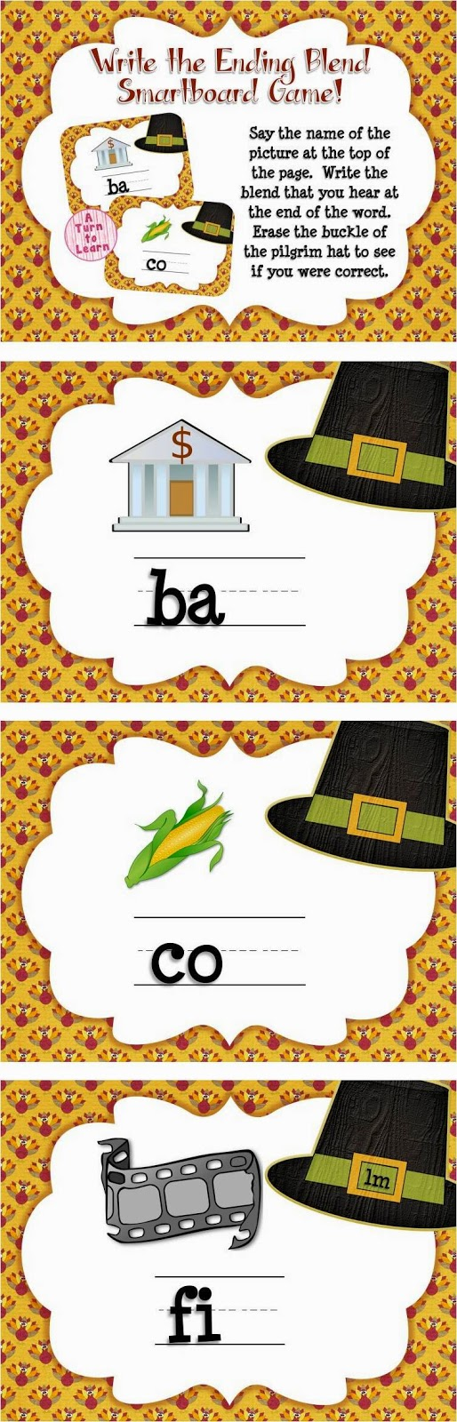 This Thanksgiving themed smartboard/promethean board game is the perfect way to celebrate the holiday! Write the blend you hear at the end of the word. Erase the pilgrim's hat to see if you were correct.