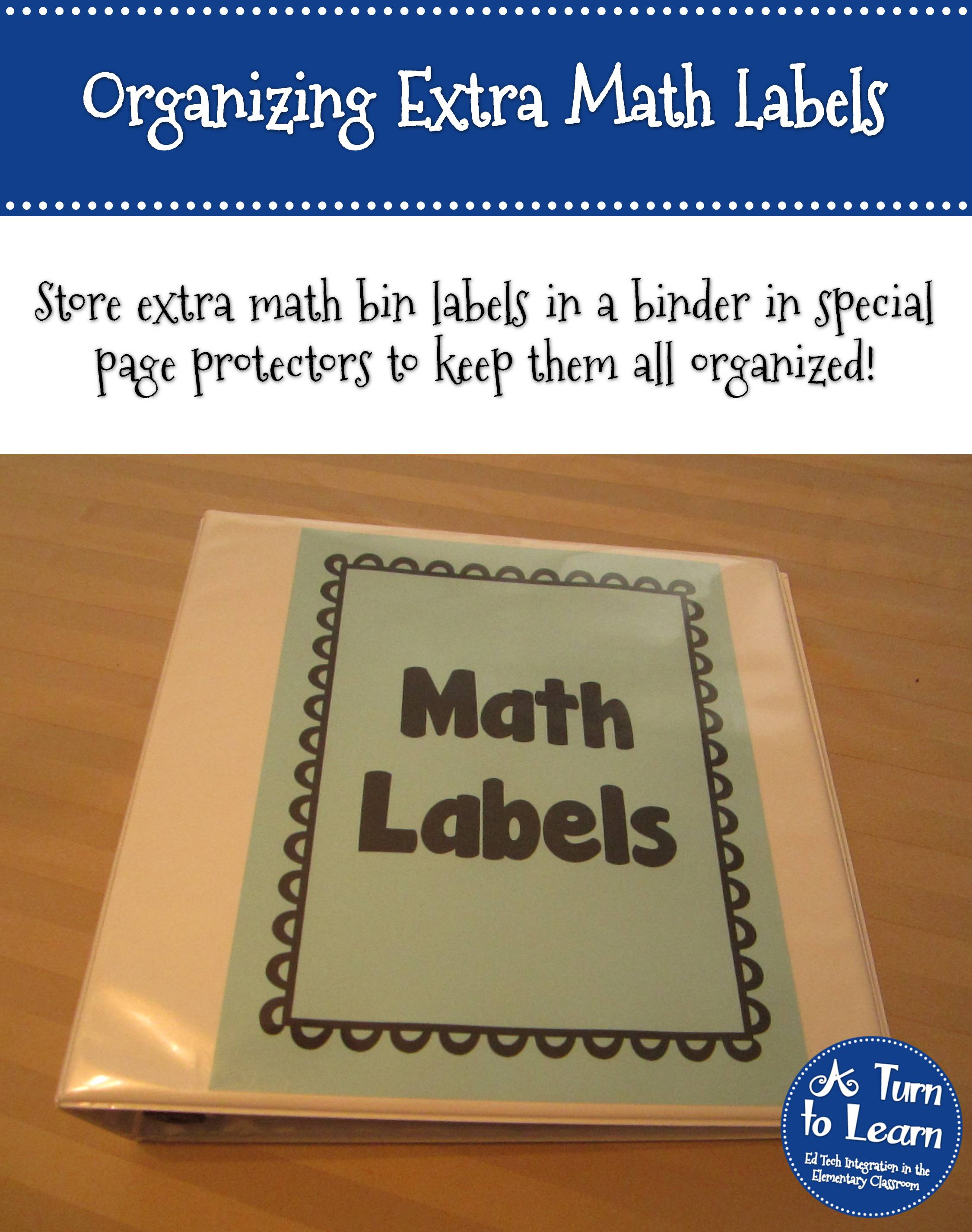 Organize Extra Math Manipulative Labels • A Turn to Learn