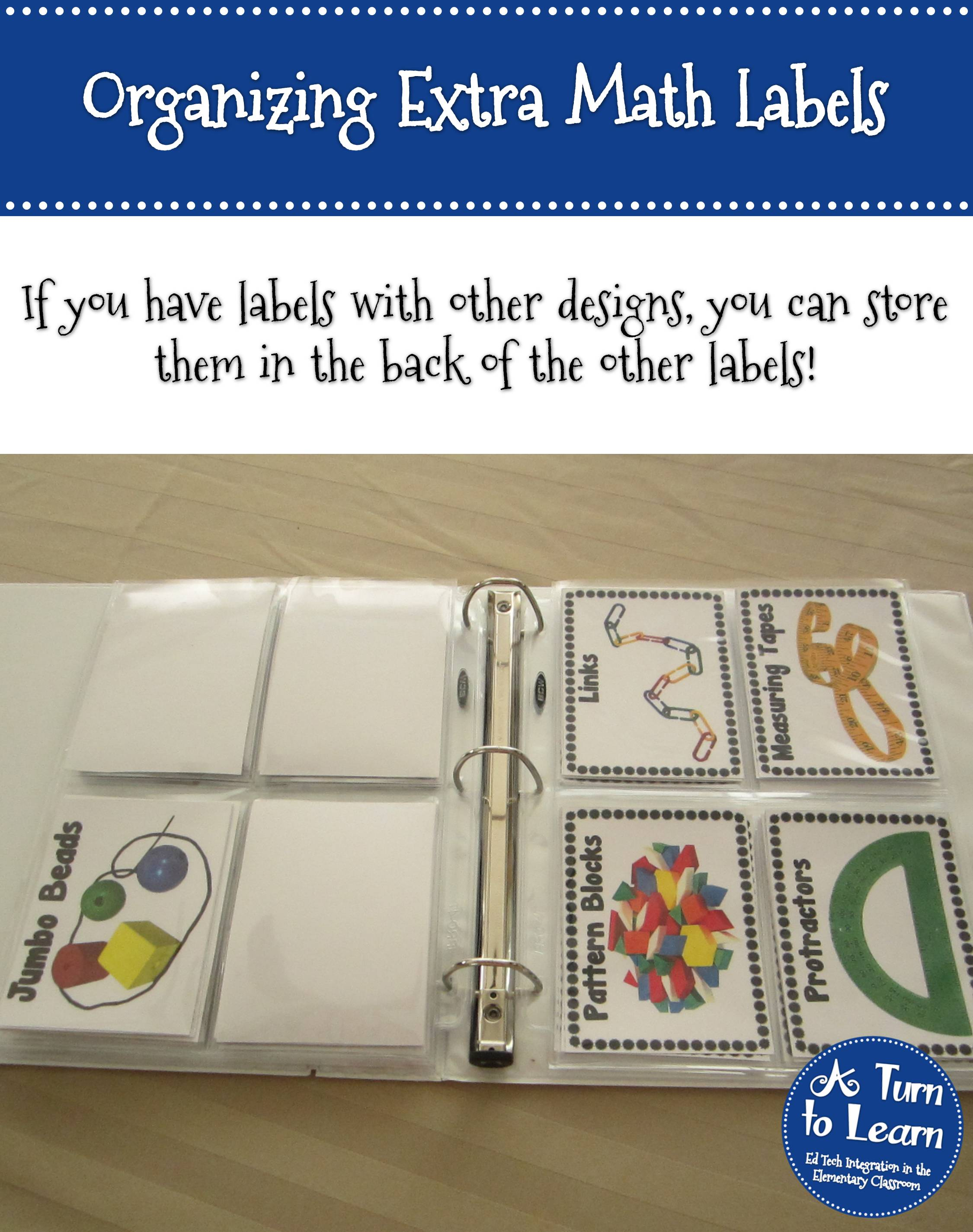 Organizing Extra Math Manipulative Labels 4 • A Turn to Learn