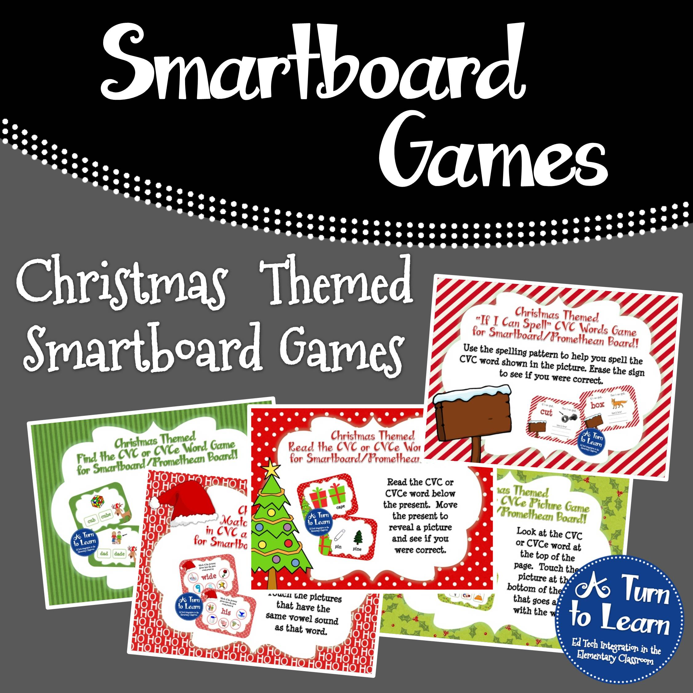 Christmas Themed Smartboard Games... Practice CVC words and CVCe words with these Christmas games for the interactive white board.
